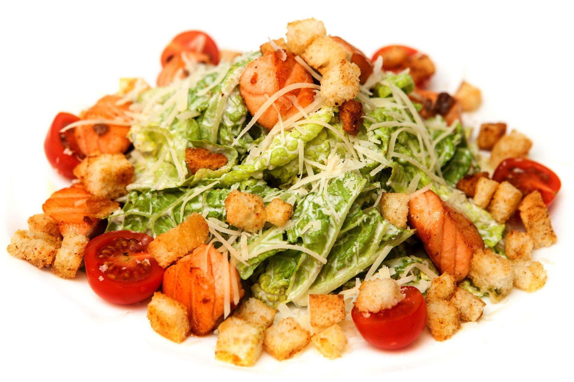 Салат цезарь с сёмгой рецепт
